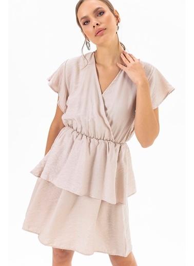 Emjey Eteği Katlı Elbise Vizon